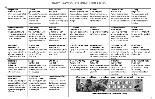 Daily Prayers for Home Educators - www south-african